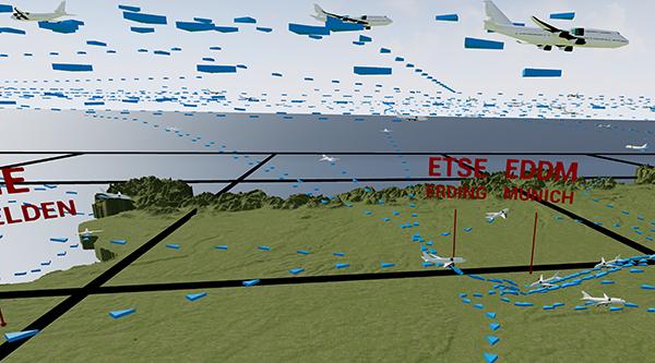 Flugspuren über Deutschland in VR