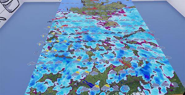 DWD VR Karte mit Niederschlag