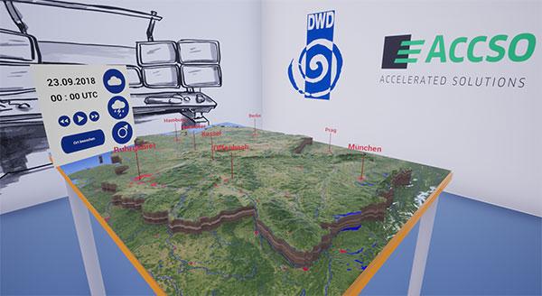 VR Kartentisch mit Bedienung DWD