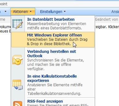 Den Windows Explorer öffnen, um aus der Adresszeile die Sharepoint-WebDAV-URL zu kopieren.